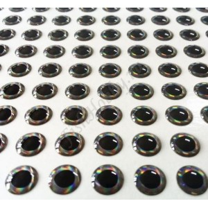 Наклейка голографическая объемная 4D глаз рыбы silver 6 мм