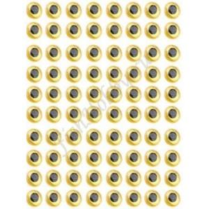 Наклейка голографическая объемная 3D глаза рыбы yellow 4 мм