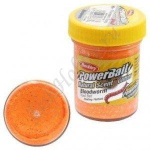 Форелевая паста Berkley Powerbait Natural Scent Glitter Bloodworm, Fluorescent Orange,