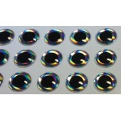 Наклейка голографическая объемная 3D глаз рыбы silver 6 мм