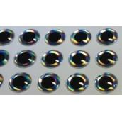 Наклейка голографическая объемная 3D глаза рыбы silver 8 мм